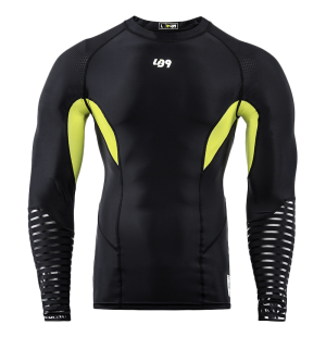 lb9 black and yellow long sleeve rashguard