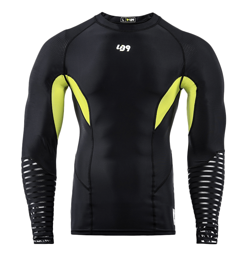 Long Sleeve Compression Rashguard Black Yellow