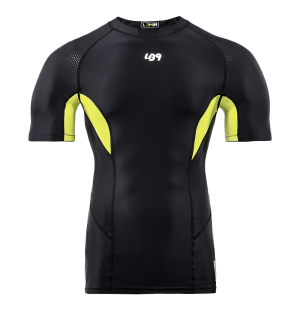 lb9 black and yellow short sleeve rashguard