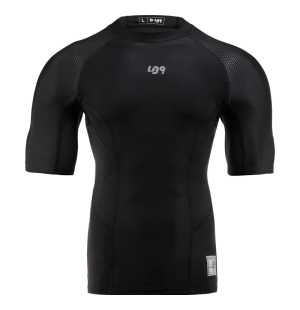 lb9 short sleeve total black lycra rashguard