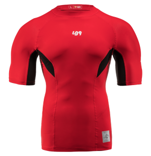 lb9 red short sleeve lycra rashguard